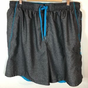 Speedo men's swim trunks XXL gray teal swimsuit